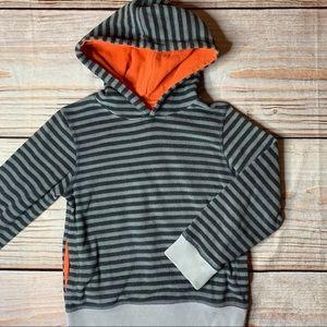 Mini Boden Fleece pullover hoodie striped 5-6 year